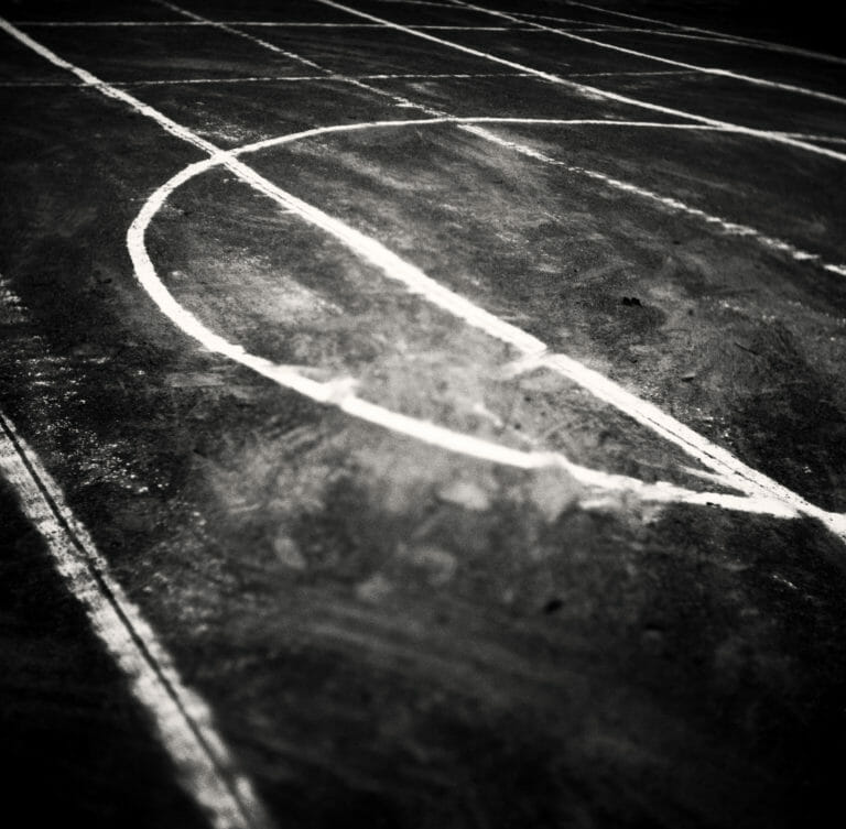 Chalk lines mark a playground, by photographer David R Munson